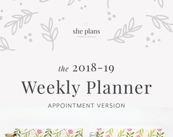 2018-19 Weekly Planner | Appointment Planner, Weekly Agenda, She Plans Planner, Weekly Diary, Academic Planner Style No. APPT1819/PPF