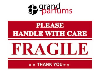 """50 FRAGILE, Handle With Care Stickers Labels Shipping 2"""" x 3"""" Postal Notifications RED and WHITE - Thank You Package Labels"""
