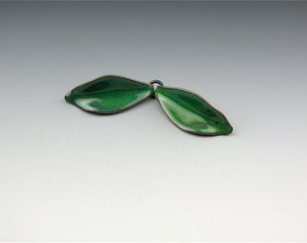 Enameled Petals / Peacock Green Enamel / Made to order