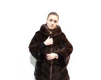 Warm Fur Coat,Real Fur Mink Jacket with Hood F347