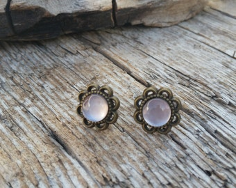 Pearlescent Shimmer Studs, Rose Chrome, Antique Bronze Flower Earrings, Hand Painted Glass Cabochon, Glass Dome Earrings, Bridesmaid Gift