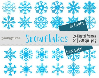 Snowflake Cliparat, Christmas, Winter, Digital Clip Art - Personal and Commercial Use, 24 clip art in PNG and PDF