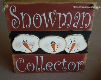 Snowman Collector Sign (WIN102-R/BLK)