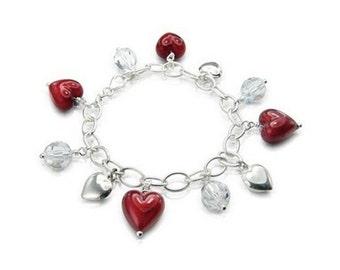 Cascade Heart Charm Bracelet - Red