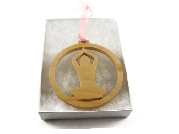 Yoga Christmas Ornament Cut By Hand From Cherry Wood By KevsKrafts