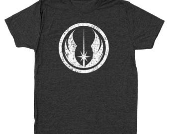The Jedi Order White Ink Star Wars Fighter Costume Geek 80S Men's Tri-Blend T-Shirt DT1899