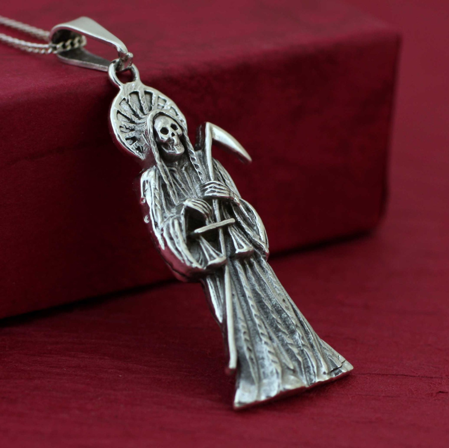 Sterling silver grim reaper necklace silver solid santa zoom mozeypictures Images