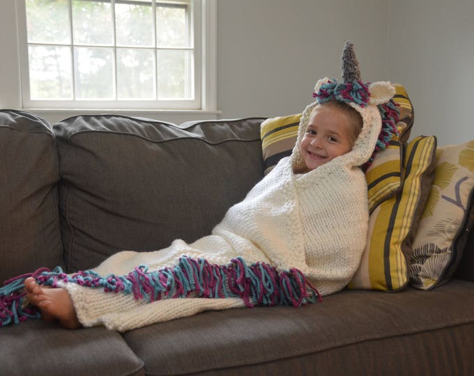 Unicorn Hooded Blanket - PATTERN ONLY