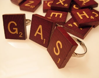 Awesome Scrabble Tile ring in Maroon or Classic Wood