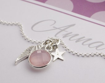 Angel Wing necklace 925 silver rose quartz Engraving