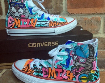 Custom Converse, Handpainted Shoes, Graffiti Art Painted Sneakers, Urban Design Chucks for Competitive Dancer, Personalized Shoe, Dance Girl