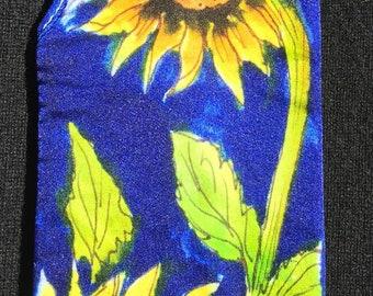 Handpainted Silk Eye Glass Case with Sunflowers Design