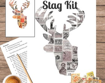 Stag Postage Stamp Art Kit