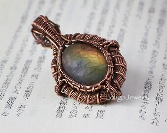 Labradorite Wire Wrapped Pendant, Labradorite Pendant, Heady Wire Wrap Pendant, Copper Pendant, Labradorite Jewelry,