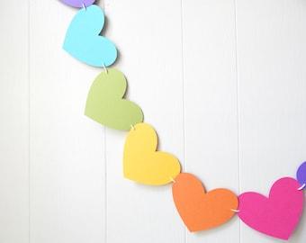 Big Rainbow Heart Garland / Wedding Decoration / Love Bunting / Anniversary Decor / Nursery Decor / Photo Prop / Adjustable Hand Sewn