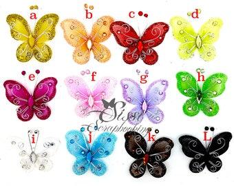 GROT LOT 12 MAXI Butterfly ORGANZA wedding 5cm colors ACIDULES MULTICOLOR set