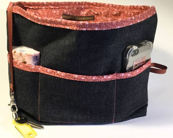 """Jeans and"" liberty bag Organizer, bag, draw hand, gift for her"