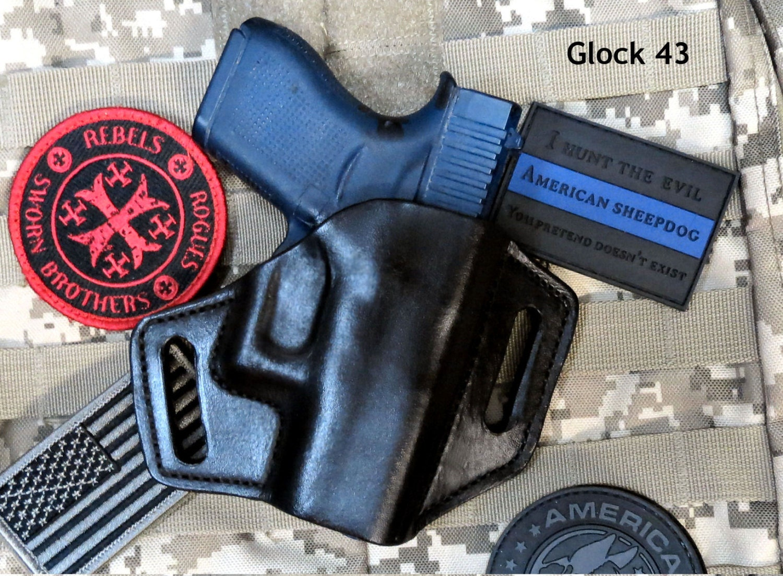 Glock 43 OWB Leather Pancake Holster Forward Cant Handmade