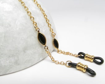 Gold and Black Eyeglass Chain with Channel Set Swarovski; Reading Glasses Necklace; Eyeglass Holder; Gold Glasses Chain; Cord for Readers