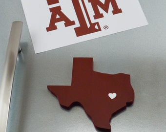 """Texas A&M """"State Heart"""" Magnet, handcrafted wood with official team colors"""