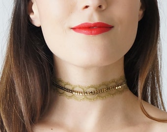 Green Choker Necklace Lace Choker Necklace Gold Choker Necklace Beaded Choker For Her Girlfriend Gift/ PRAIA