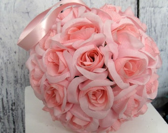 Ceremony decor, Pink roseball, Wedding accessories, Silk flower girl bouquet, Reception decoration, Pink pomander, Silk wedding flowers,