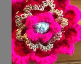 Large crochet flower hair band