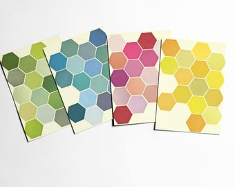 Geometric Postcards With Envelopes, Geometric Patterns, Affordable Art, Modern Stationery, Gift Ideas - The Honeycomb Set