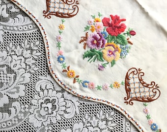 Vintage embroidered side tablecloth chair back antimacassar antique Irish linen handmade victorian hand embroidery