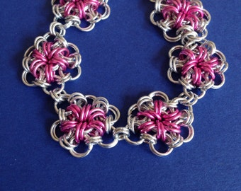 Silver and Pink Japanese Flower Weave Bracelet