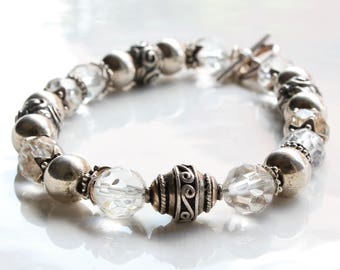 Rock Crystal bracelet, Sterling Silver, crystal clear gemstone, boho statement bracelet, bridal wedding bracelet, holiday gift for her, 2669