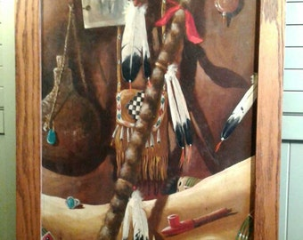 Original Art Native American Still Life Large Painting Signed By Artist William Sauts Bock Netamuxwe Indian Feathers Photo Turquoise Ring