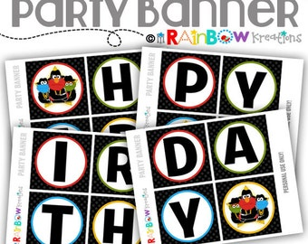 PRTYB-776: DIY Run ABC Party Banner - Instant Downloadable File