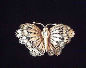 Vintage silver filigee butterfly brooch, silver brooch, vintage jewellery, silver jewellery, lapel pin