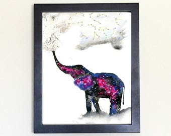 Elephant Spirit Animal Art Print Watercolor 8x10