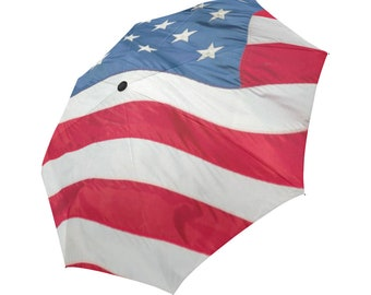 3D effect-American flag- Large and automatic foldable umbrella- Rain and sun- customizable-Handpainted design