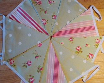 Beautiful Pink and Sage Green Bunting - Stripes Spots and Rosebuds