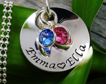 Hand Stamped Jewelry - Personalized Jewelry - Mother Necklace - Sterling Silver Necklace - Two Names Two Birthstones - Cupped