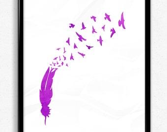 Soar | Purple Watercolour Feather Print