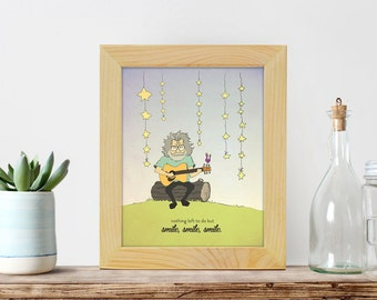 Jerry Garcia Nursery Print - Cool Kids Room Art - Grateful Dead Quote Art - Smile, smile, smile