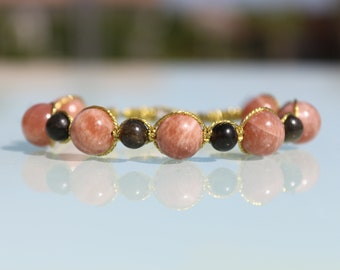 """Jewelry healing bracelet """"Joy and Protection"""", natural stones, sunstone, Golden Obsidian"""