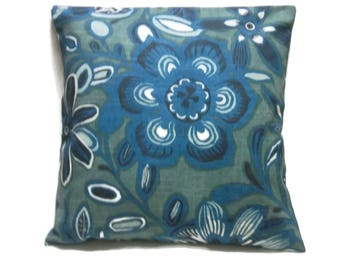 Decorative Pillow Cover Shades of Blue White Floral Same Fabric Front/Back  Toss Throw Accent 18x18 inch