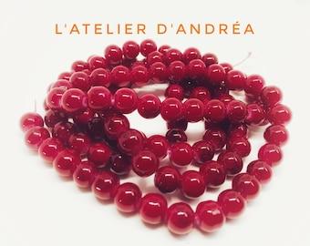 Perles de verre rouge-cerise/verre/  8.5 mm / bijoux / noël / création/ décoration
