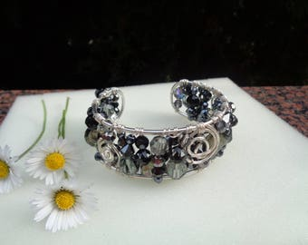 Silver Bangle, cuff, lovingly handmade from Crystal and Silver 925