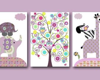 Baby Print Art for Children Kids Wall Art Baby Room Decor Baby Girl Nursery Art Baby Nursery Decor set of 3 giraffe elephant purple