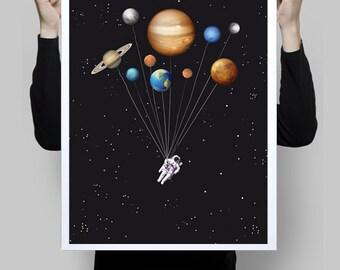 Space traveller - funny astronaut solar system ballons - Wall art astronomy digital print scifi galaxy solar system geek planets art poster