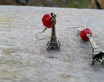 Red Velvet Crystal Bead and Silver Eiffel Tower Charm fashion Earring - boho style jewelry - 925 sterling silver and clip-on options
