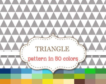 """TRIANGLE Digital paper 50 Colors Paper Pack Triangle Digital Paper Rainbow Triangle Paper Triangle Pattern Commercial Use 12""""x12"""" #P136"""