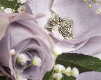 Earring, silver sterling 925, handmade, rose, for woman,