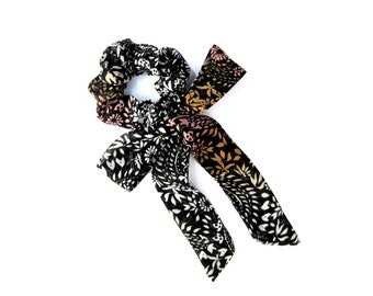 Bow Scrunchie, Scrunchie, Beach Hair Accessory, Soft Hair Tie, Floral Scrunchie, Hair Scrunchie, Gift for Her,Under 15 Dollars,Ready To Ship